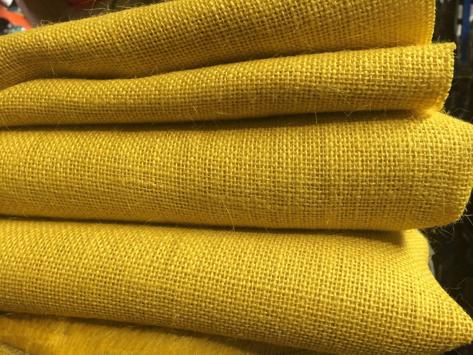 MUSTARD HESSIAN JUTE 10oz Fabric Sacking Gelb Table Runner Material 160cm wide