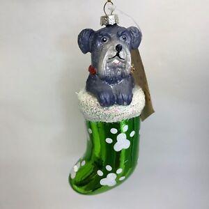 Schnauzer-Dog-Christmas-Ornament-Gray-Dog-in-Green-Stocking-Holiday-Decoration