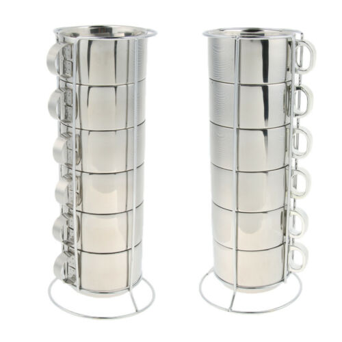 6pcs Stainless Steel Double Insulated Coffee Mug Water Tea Cup with Holder