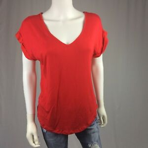 32fb925628c Details about Pleione Anthropologie Red Short Sleeve Blouse Womens Size XS  Brand New