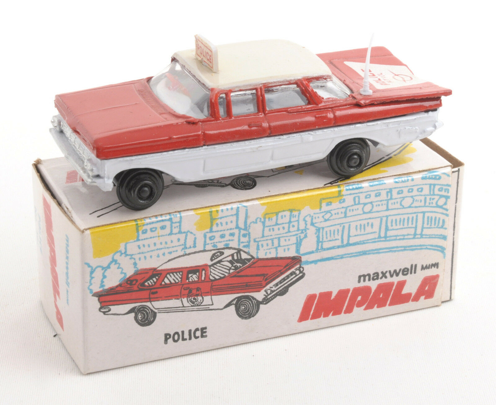 Maxwell Juguetes (India) No.561 Maxwell Mini policía patrulla Impala 1970s   MIB