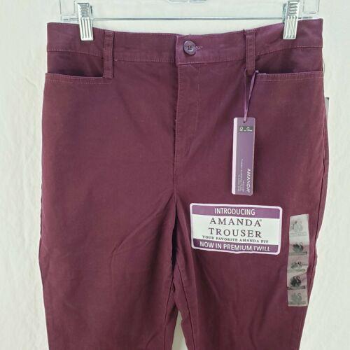 Women/'s Gloria Vanderbilt Amanda Trouser Tummy Slim Panel Pants Purple New