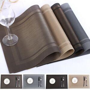 Set-of-4-6-8-Washable-Table-Mats-PVC-Insulation-Plaid-Weave-Non-Slip-Placemats
