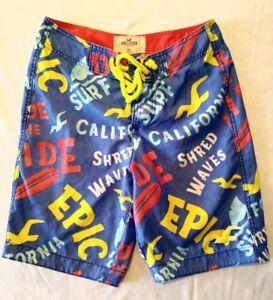 a020e37a95d3a Hollister Board Shorts Men's Spell Out Blue Swim Shorts Size XS | eBay