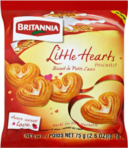 3 X Brittania Little hearts buiscuits 75g