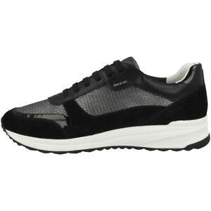 Dettagli su Geox D Airell C Scarpe Donna Sneaker Sport da Ginnastica Gun Black