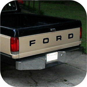 Black 87 93 Ford Pickup Truck Fleetside Bronco Tailgate Vinyl Letters Decal Rear Ebay