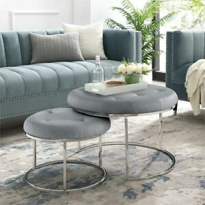 Incredible Details About Aaden Tufted Pu Leather Nesting Ottoman Set Of 2 Grey Chrome Pabps2019 Chair Design Images Pabps2019Com