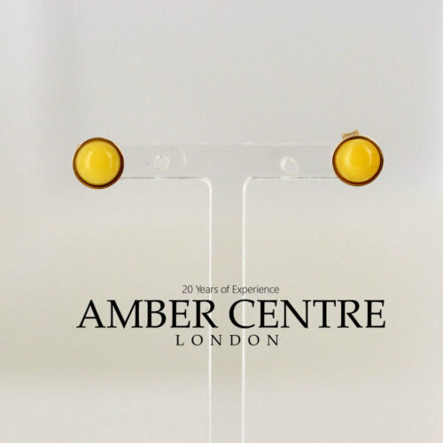 Italian Made Butterscotch German Amber Studs In 9 Ct Gold GS0027Y RRP £100!!!