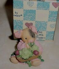 This Little Piggy Girl Clovers Trough Collectible Figurine New Enesco #299871A