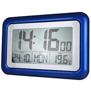 digitale funkwanduhr seniorenuhr wanduhr funkuhr funk uhr lcd display gro blau ebay. Black Bedroom Furniture Sets. Home Design Ideas