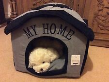 Dog Cat Den Cave Hut Hooded Bed, Removable Cushion & Roof, Easy Travel, Folding