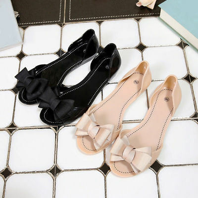 Fashion Summer Women Slip On Bow Jelly Flats Sandals Beach