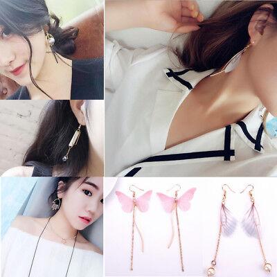 Fashion Simple Korean Women Crystal Pearl Drop Dangle Long Earrings Ear Jewelry