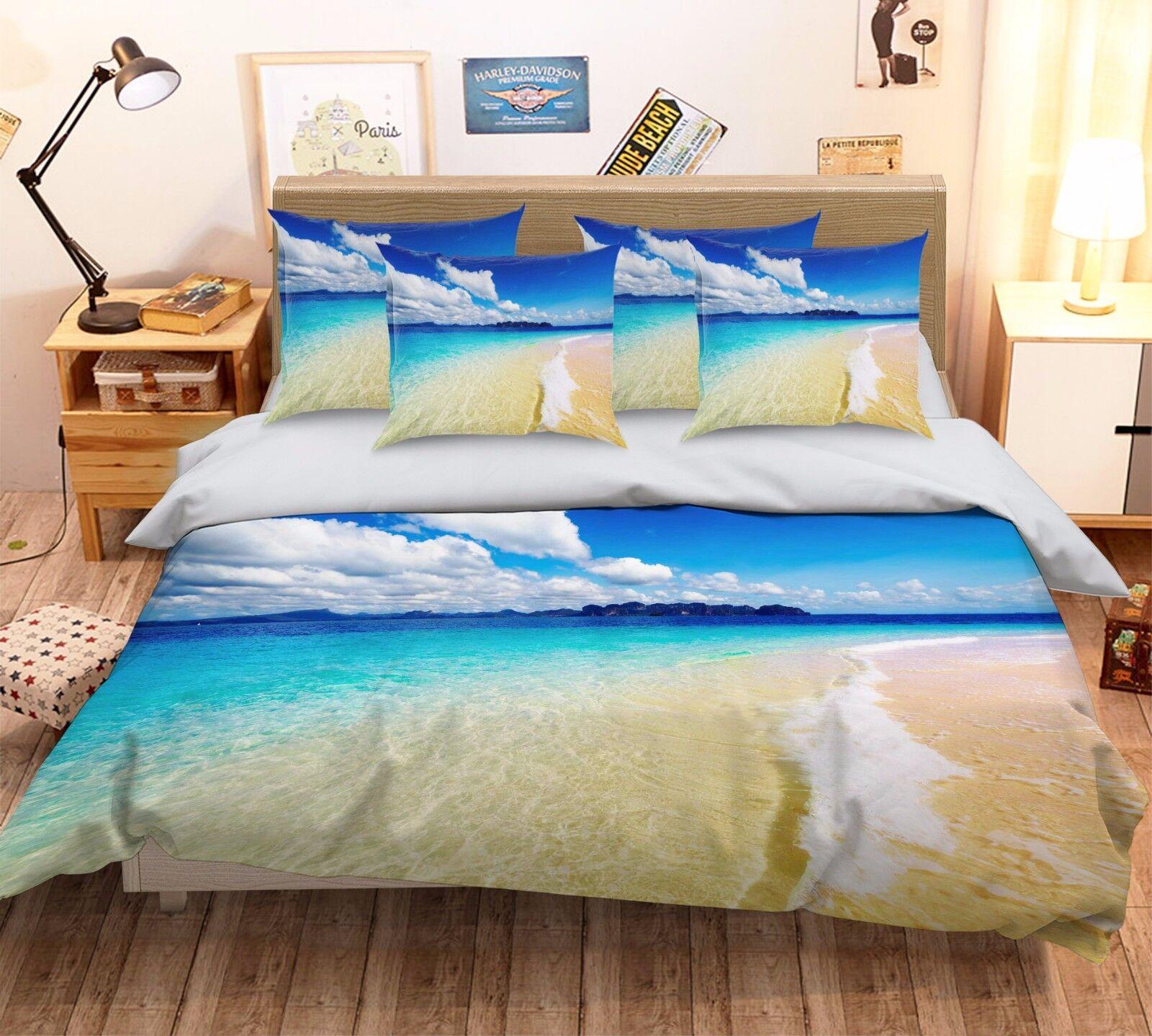 3D White Clouds Beach 462 Bed Pillowcases Quilt Duvet Cover Set Single Queen CA