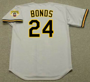 official photos c6a1f 1ad23 Details about BARRY BONDS Pittsburgh Pirates 1992 Majestic Throwback Away  Baseball Jersey