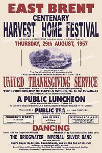 East Brent - Somerset HARVEST HOME Centenary Poster 1857 - 1957 Facsimile