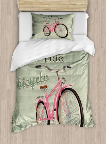 Vintage Duvet Cover Set with Pillow Shams Retro Pop Art Bike Print