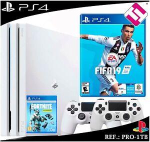 PS4-PLAYSTATION-4-PRO-1TB-BLANCA-2-MANDOS-BLANCOS-JUEGO-FIFA-2019-FORNITE