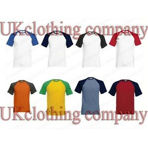 Fruit-of-the-Loom-Manche-Courte-Baseball-Coton-t-shirt-a-col-rond-Homme-Haut
