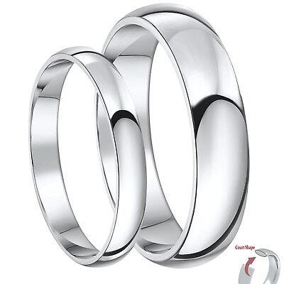 Brand New Palladium His & Her's 3&5mm / 4&6mm Court Shaped Wedding Rings