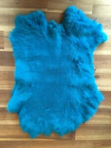 1x-Turquoise-Rabbit-Skin-Real-Fur-Pelt-animal-training-crafts-fly-tying-LARP