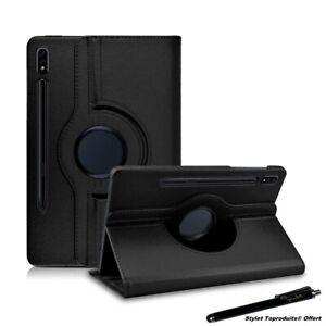 """Housse Etui Noir pour Samsung Galaxy Tab S7 Plus 12.4"""" 2020 T970 Support Rotatif"""