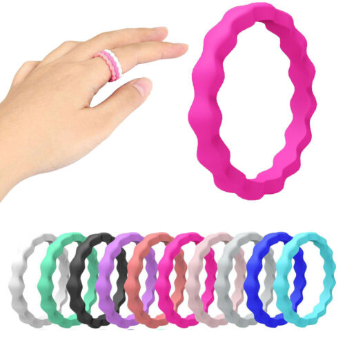 10Pcs//Set Silicone Rubber Unisex Wedding Rings Band Braid Stackable Size:5-10)