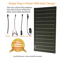 Plug-n-power Black 30w 30 Watt Mon Solar Panel + $8 Adaptor 12v Battery Charger