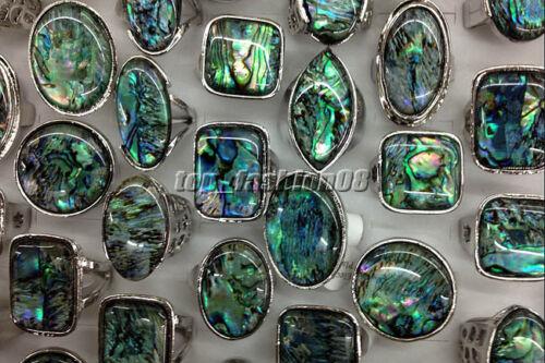 Hot 5Ps Mixed Lots Plaqué Argent démesurée Shell Gemstone Rings Jewelry Wholesale