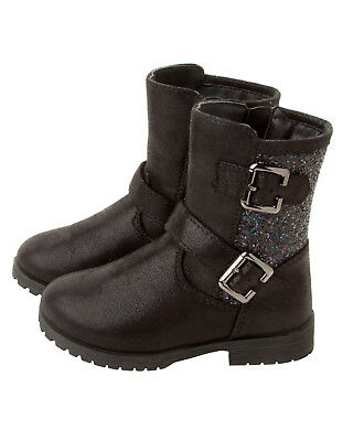 GIRLS BLACK GLITTER HIGH ANKLE CASUAL WINTER BOOTS WITH SIDE ZIP UK SIZE 6-2