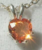 Genuine Orange Montana Sapphire 4mm Heart .925 Sterling Silver Pendant Necklace