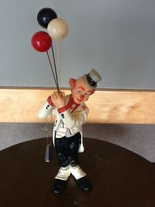 "Judi's Pastime 1986 Chalkware Ceramic Sculpted Clown Figurine 17 1/2"" Signed"