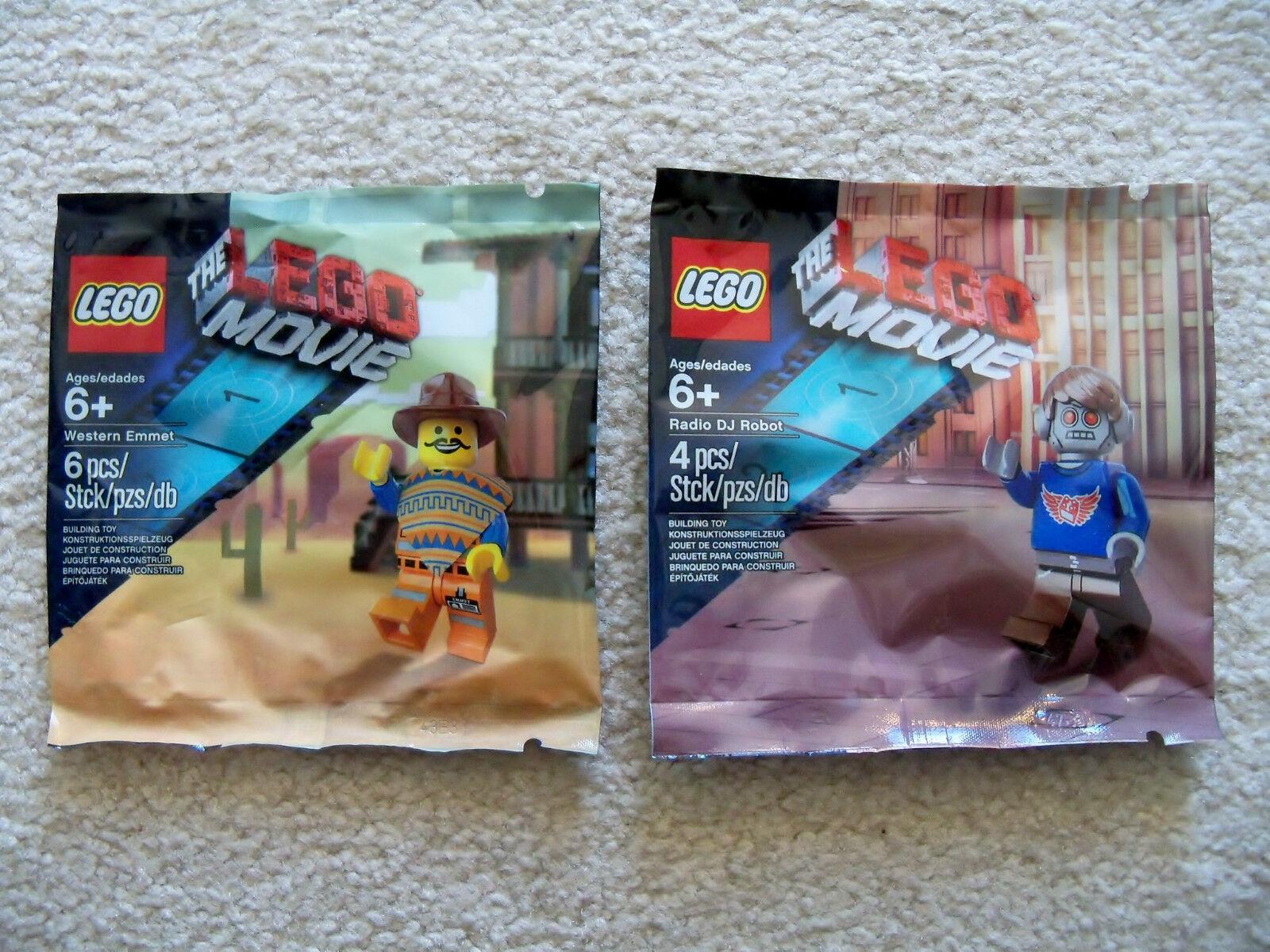 LEGO The The The LEGO Movie - Rare Radio DJ Robot 5002203 & Western Emmet 5002204 - New 793cc4