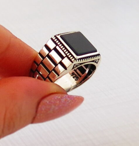 TURKISH MEN/'s RING 925 STERLING SILVER BLACK ONYX AGATE STONE #618