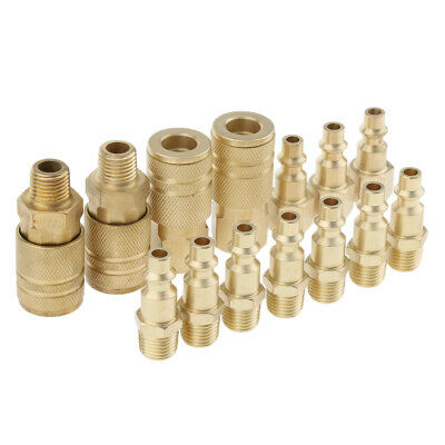 "14 Pcs Brass Quick Coupler Set Air Hose Connector Fittings 1//4/"" Tools Plug"