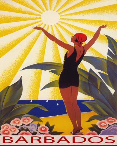 POSTER SUNSHINE BEACH BARBADOS GIRL SALUTING SUN TRAVEL VINTAGE REPRO FREE S//H