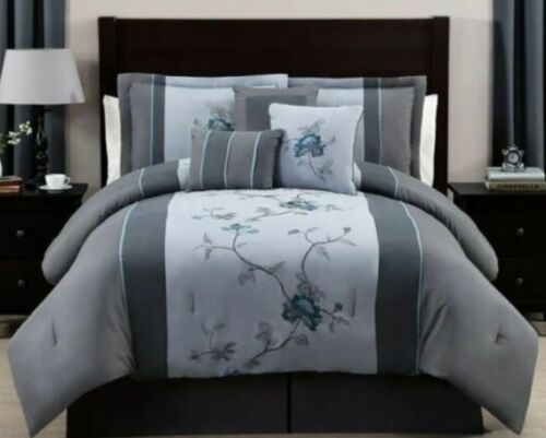 7 Piece Comforter Set Floral Embroidery Modern Bed Skirt Curtain Full Queen King