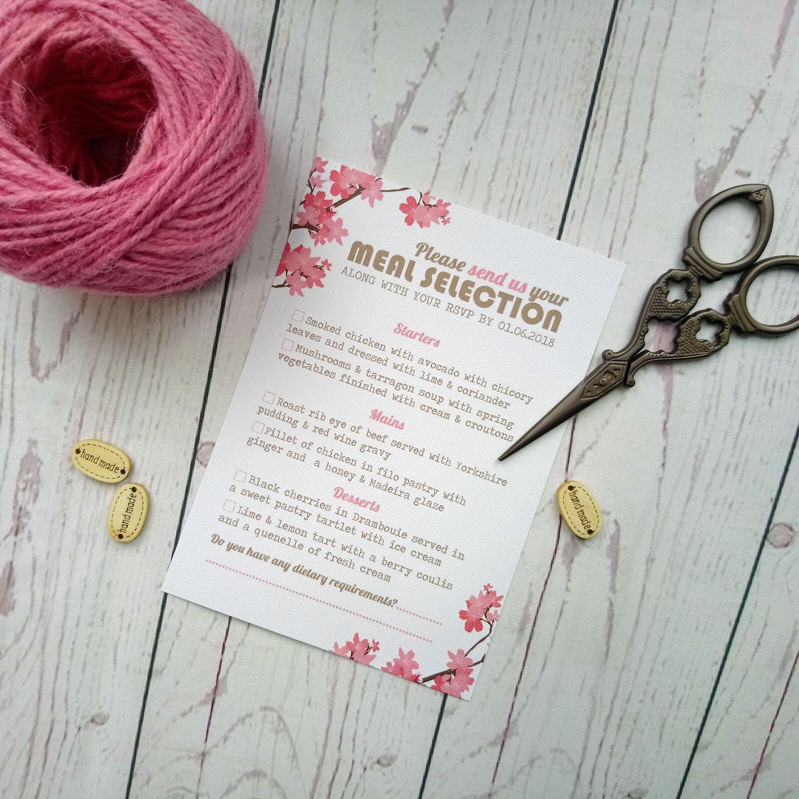 Menu casella matrimonio personalizzati carte con casella Menu di spunta l'opzione di scelta pasto 7d82aa