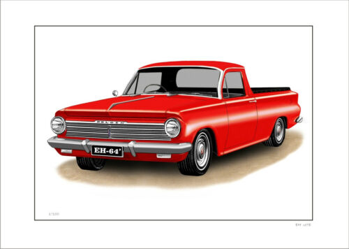 8 CAR COLOURS HOLDEN  EH 179  UTE  LIMITED EDITION CAR DRAWING PRINT