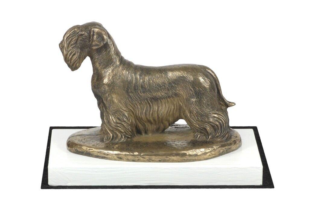 Cesky Terrier - figurine made of Bronze on the Weiß wooden base, Art Dog