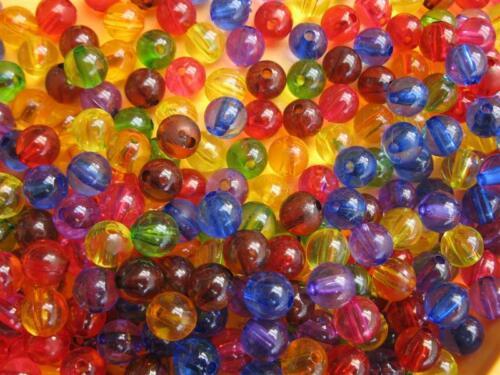 40 cuentas de plástico mezcla redonda colorida sin color espina de 6 mm nuevo 11137