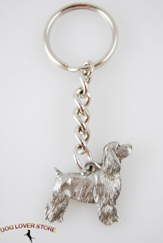 Cocker Spaniel Keychain Pewter Puppy Cut