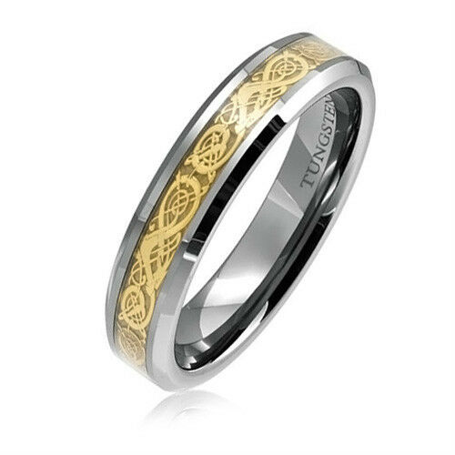 6MM Women's Gold Dragon Tungsten Carbide Wedding Band with Beveled Edge