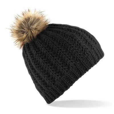 Bonnet tendance noir pompon FOURRURE SYNTHETIQUE ski femme marque Beechfield