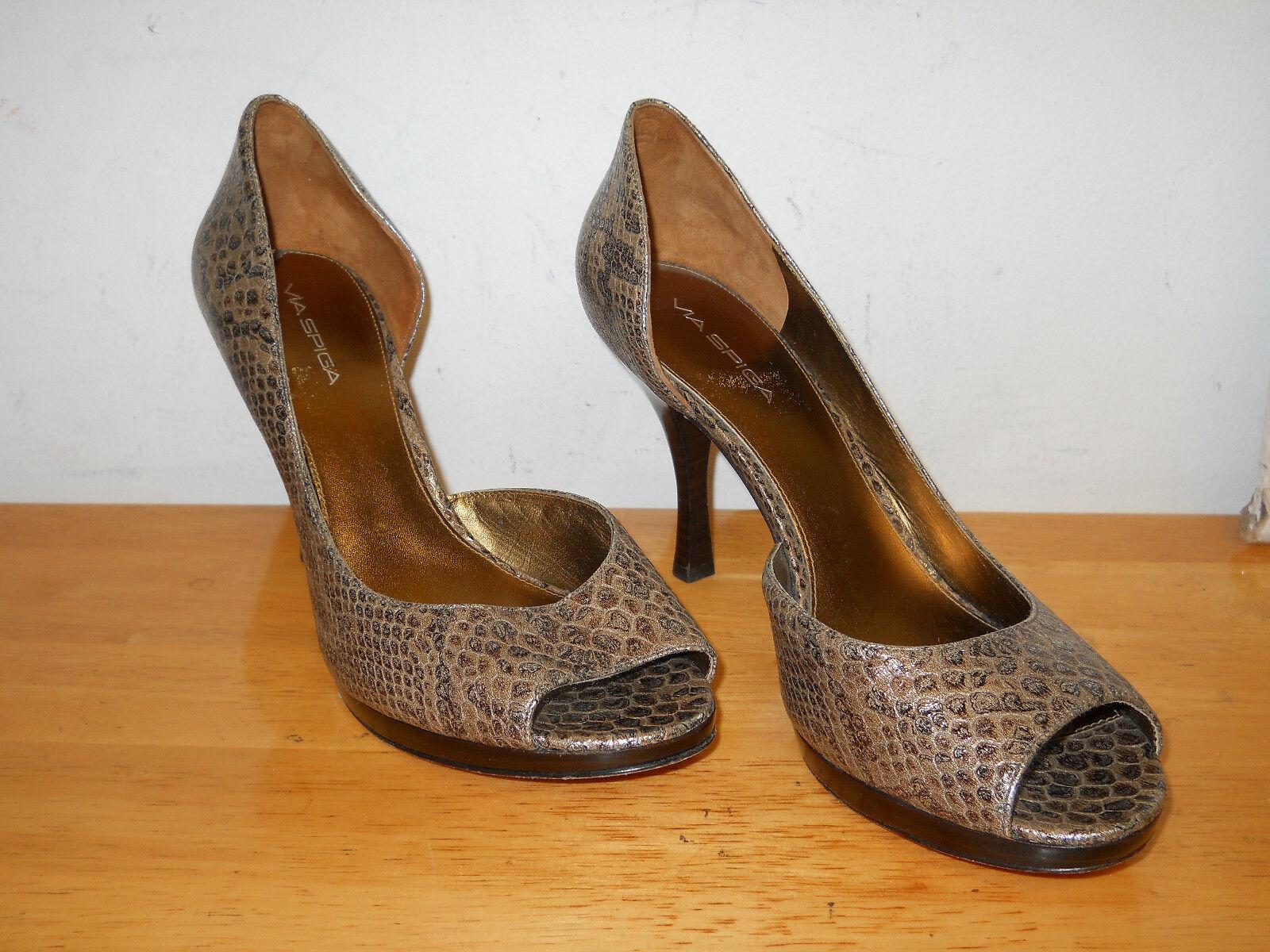 Via Spiga NEU Damenschuhe Malibu Braun Multi Open Toe Heels 10 M Schuhes NWOB