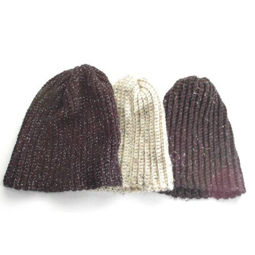 Hand Knit Neutral Beanie Ski Caps Unisex Boho Fest
