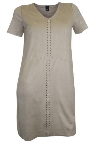 Lederimitat Kleid Minikleid Veloursleder Optik 34 36 38 40 beige B.C