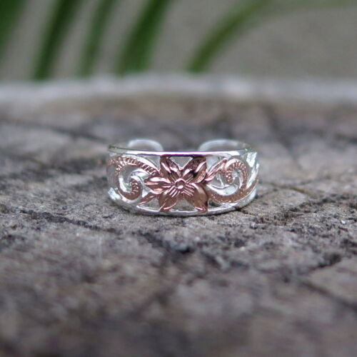 Hawaiian Silver Scrolling See Through Toe Ring 8mm Rose Gold Plated TR1087