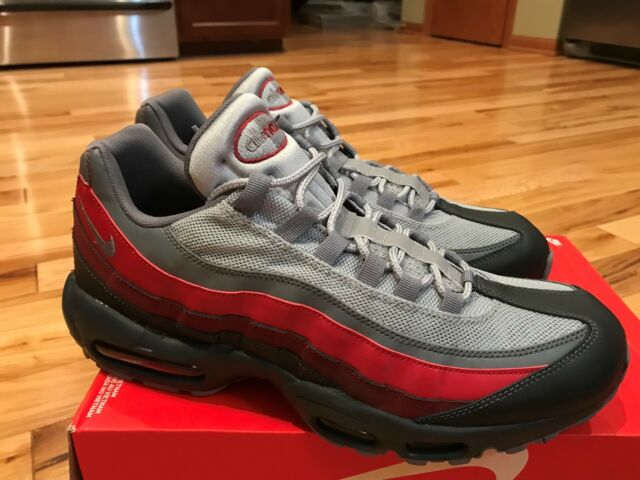Nike Air Max 95 Essential Anthracite Grey Red 749766 025 Men's Size 12.5